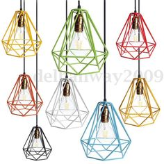 William Modern Industrial Style Metal Wire Frame Ceiling Light Lamp Shade Squirrel Cage