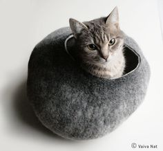 Cat Bed / Cave / House / Vessel. Hand Felted Wool. My cats would love this getaway. More at Etsy source. $59.