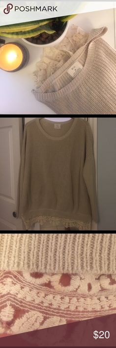 UO White Sweater with lace Off white sweater with lace bottoms. Still in great condition , there is a small snag on the back, and a light orange tint to a small part of the lace. Urban Outfitters Sweaters