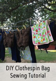 DIY Clothespin Bag Sewing Tutorial - Make a clothespin bag from a handkerchief and bias tape. Great first-time sewing project.