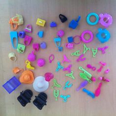 Polly Pocket Lot of Accessories Bags Purses Hangers Hats Brushes Cups ETC