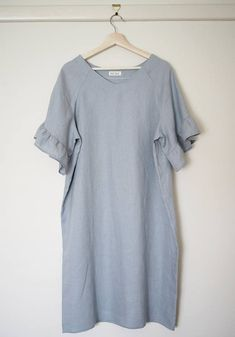 Women's v-neck dress in pale blue linen size M How To Clean Iron, V Neck Dress, No Frills, Tunic Tops, Sleeves, Prints, How To Make, Blue, Etsy