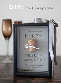 Diy Crafts Ideas : Cork Keepsake Framefor the special corks from bottles you have opened togethe
