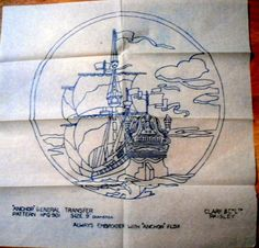 VINTAGE  EMBROIDERY TRANSFER SHEET GALLEON SAILING BOAT CLARK & CO LTD
