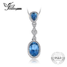 JewelryPalace Elegant ct Natural London Blue Topaz Pendant For Woman 925 Sterling Silver Brand Fine Jewelry Without Chain London Blue Topaz, Turquoise Necklace, Fine Jewelry, Pendants, Pendant Necklace, Sterling Silver, Chain, Elegant, Create