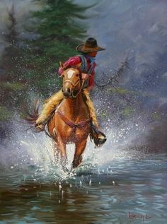 MARK KEATHLEY  /  Beautifully done.  Almost looks real.  The splashes from the horse are great.