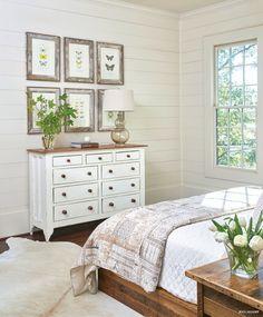 Rustic white bedroom.
