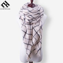 Evrfelan New Fashion Winter Scarf Luxury Brand Ladies Scarves Wraps Women Warm Shawls Scarf Women Triangle Bandana 140*140*210(China)