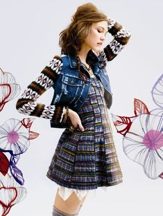 fall pattern mix~Karlie Kloss & Aline Weber Compare & Contrast for Free Peoples July 2012 Catalogue