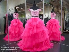Hot Pink Multi Layered Lace Two Piece Prom Dress Ball Gown