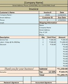 Download Excel Format Of Tax Invoice In GST GST Goods And - Commission invoice format women clothing stores online