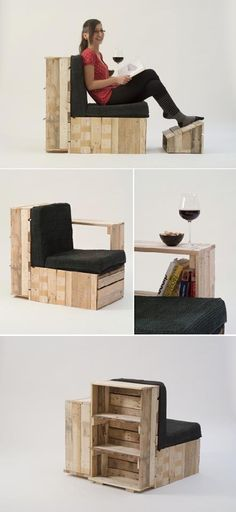 Pallet chair, ottoman, & shelf