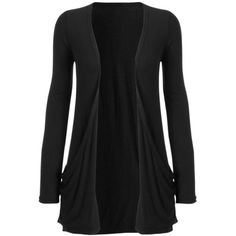 Long Sleeve Jersey Cardigan w Pockets Black ($11) ❤ liked on Polyvore