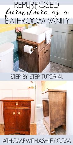 Repurposed furniture as a DIY Bathroom vanity. Ideas for unique bathroom vanities for small space from a vintage cabinet. A step by step tutorial for how to upcycle furniture for a bathroom vanity. Recycled furniture is good for the earth and less expensive than buying a new vanity.
