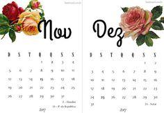 Calendários 2017 para Imprimir | Suéter Azul floral geek clean free printable calendar Brasil