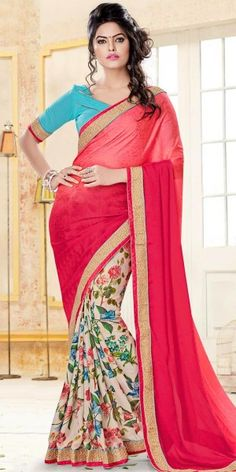 Emerald Red And Cream Crepe Printed Saree With Blouse.