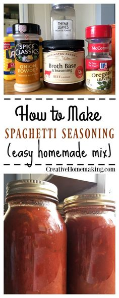 Recipe for making an easy, inexpensive homemade spaghetti sauce seasoning mix. Recipe for making an easy, inexpensive homemade spaghetti sauce seasoning mix. Homemade Dry Mixes, Homemade Spices, Homemade Seasonings, Homemade Food, Homemade Alfredo, Sauce Spaghetti, Homemade Spaghetti Sauce, Spaghetti Sauce Seasoning Recipe, Spaghetti Recipes