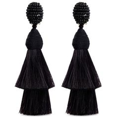 Oscar De La Renta Beaded horse hair tassel clip earrings (30.175 RUB) ❤ liked on Polyvore featuring jewelry, earrings, black, horse jewelry, horse jewellery, tassel jewelry, cluster earrings and tassle earrings