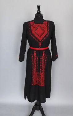 Vintage Black Red Embroidered Cotton Tunic Shirt Kurti Dress India Ethnic  Medium Indian Boho Hippie Shift Dress Folk Festival Maxi Sundress...