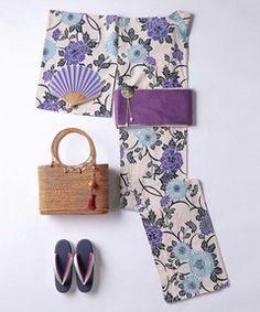 <三勝(さんかつ)>紫菊 浴衣 Tokyo Fashion, Kimono Fashion, Yukata Kimono, Kimono Design, Summer Kimono, Japanese Patterns, Japanese Embroidery, Japanese Outfits, Japanese Beauty