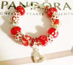 "WOMAN'S NEW AUTHENTIC PANDORA 7.1"" SS W/LOBSTER CLAW & RED AND BLING #Pandora #European"