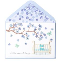baby crib under branch blossoms new baby greetingsbaby new yearpapyrus cardsbaby