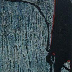 作者名/作品名:名嶋憲児/傾いた人  額サイズ:80×65cm  イメージサイズ:59×44.5cm  技法:陰刻木版  年代:1996  エディション:ED:30