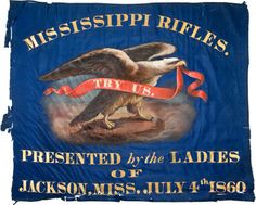 """X Blue Silk, Handpainted, Center Section Of The Presentation Flag Of The """"Mississippi Rifles"""", Escort And Ho. Civil War Flags, Civil War Art, Confederate States Of America, Confederate Flag, American Revolutionary War, American Civil War, American History, Flags Of Our Fathers, Southern Heritage"""