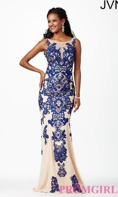 Embroidered Open Back Gown JVN27559 from JVN by Jovani $440.00 from http://www.www.transblink.com #back #jvn #promdress #jovani #girl #from #gown #princess #sexy #dress #by #prom #open #embroidered