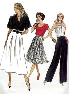 80s High Waisted Pants Skirt Vogue 7416 by allthepreciousthings, $14.00