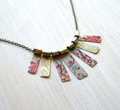 "Re-purposed tin necklace-Made using ""Arizona Tea"" cans"