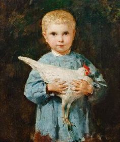 Albert Anker - 1831-1910 - Maurice Anker with chicken