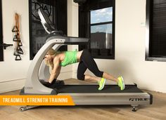 With the machine switched off, put your arms on the front part of the treadmill with legs out behind you in a plank position. Then, slowly start running with your legs, moving the belt manually. If you start to speed up too fast, slow down your running to a more controlled, deliberate movement. Keep your tummy tight into your belly button, and be careful not to arch your lower back.  Do this for 60 seconds.
