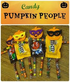 Cute pumpkin people made out of candy! #Halloween