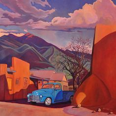 A Teal Truck In Taos, by Alan Heuer