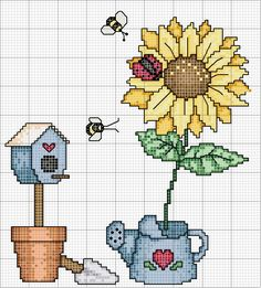 Cross-stitch Country.. no color chart, just use pattern chart colors as your guide.. or choose your own colors.  Schema punto croce Giardino