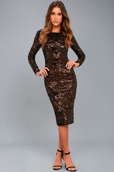 Emery Bronze Sequin Bodycon Midi Dress 1 Sequin Party Dress c4b12a612275