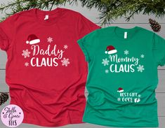 Couples Christmas Baby Reveal Shirts, Daddy Claus Mommy Claus, Couples Christmas Pregnancy Announcement Shirts, Christmas Pregnancy tshirt Pregnancy Announcement Shirt, Pregnancy Shirts, Mom Shirts, Cute Shirts, Christmas Baby Reveal, Funny Football Shirts, Christmas Couple, Daddy, Holidays