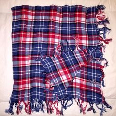 Fringy plaid scarf Super cute red, white and blue scarf. Material is very soft, and is thick enough to keep you warm in the winter. J. Crew Accessories Scarves & Wraps
