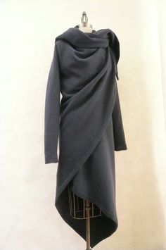 MARIA SEVERYNA Slate Gray Cashmere Wool Coat  Asymmetric Wrap Duster.