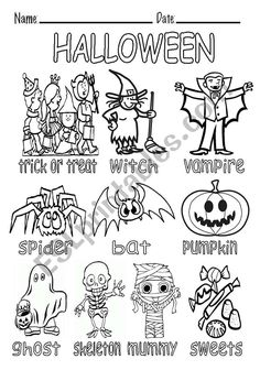 B&W picture dictionary about halloween