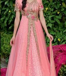 Buy Off White embroidered georgette semi stitched salwar with dupatta Online