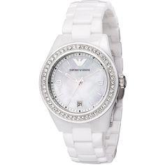 Armani Ceramica ladies quartz stainless steel and ceramic stone set bracelet watch. Emporio Armani Ladies Watches, Armani White, Pandora, Sunglasses Outlet, Men's Sunglasses, Sunglasses Online, White Ceramics, Jewelry Watches, Women's Watches
