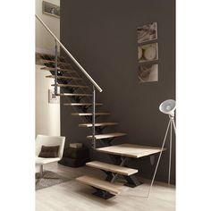 Escalier quart tournant Mona, marches/structure aluminium gris