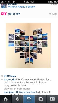 Perfect for a corner wall! -DIY photo wall heart art