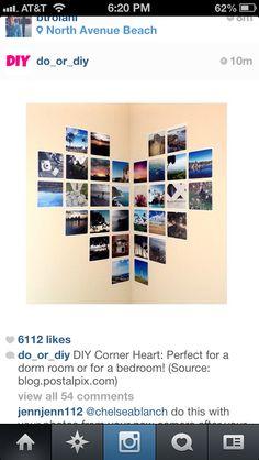 Perfect for a corner wall! -DIY photo wall heart art
