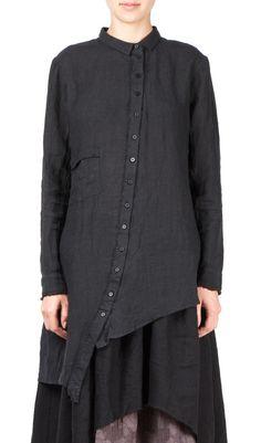 -long sleeve, long length button down shirt -single chest pocket -single back vent -raw edge cuff detail -100% linen -made in denmark #Hotoveli #Hotovelinyc #AlexandrManamis