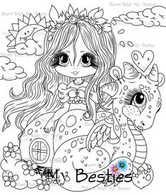 Adorbs Dragons TM Moon Coloring Pages, Dragon Coloring Page, Adult Coloring Pages, Coloring Books, Black Cat Art, Creation Art, Black And White Lines, Colour Images, Big Eyes
