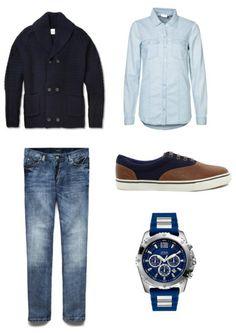 Men outfit. Blue