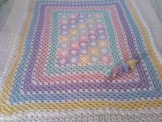 Pastel Crochet Baby Afghan por SleepyHollowCrochet en Etsy